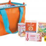 Oranje boodschappentas met producten